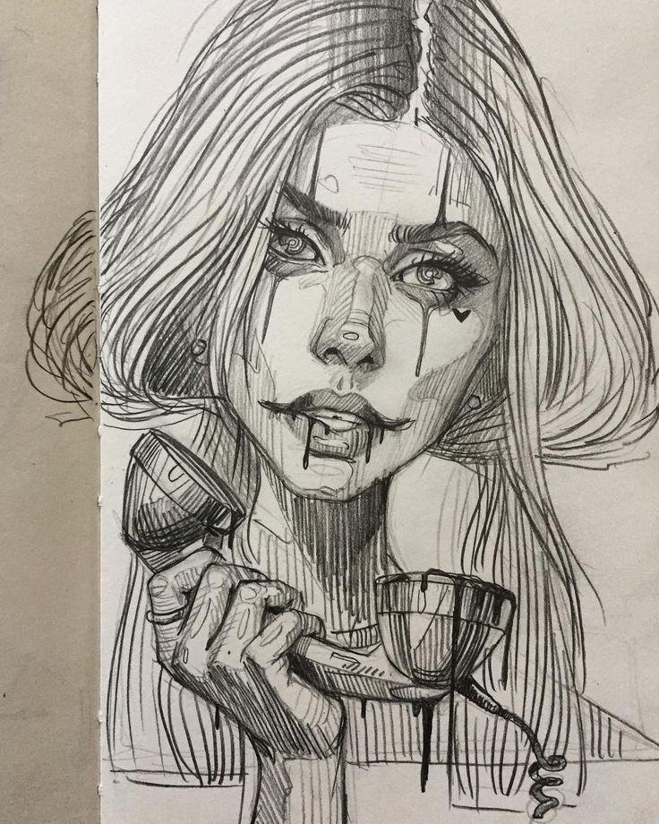 "3,888 mentions J'aime, 23 commentaires – Arsek & Erase (@arsek_erase) sur Instagram: ""One call away  #drawing #sketch #inktober #pencil #girl #sex…"