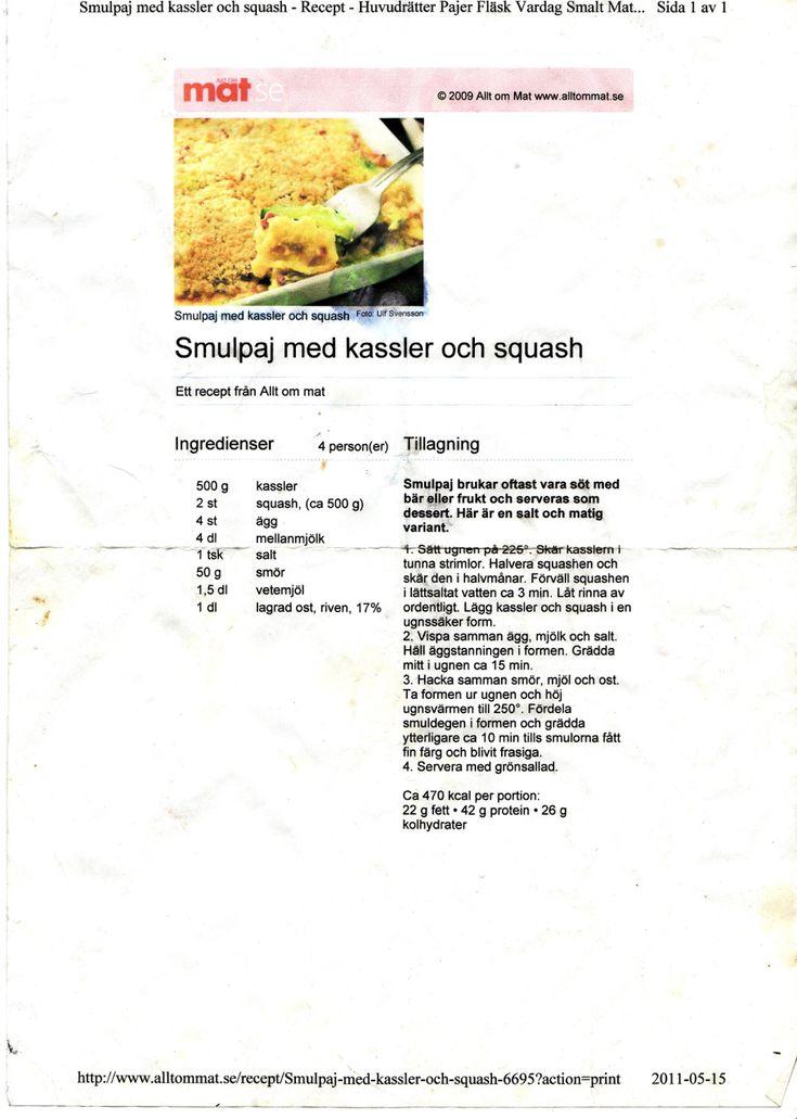 Smulpaj med kassler o squash