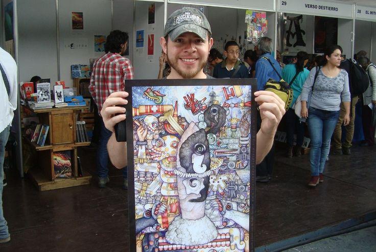 """Pedro Sacristán despliega el póster de """"Fantasía Mexicana: Entre la Vida y la Muerte"""" XIV Feria Internacional del Libro Zócalo. Firma de autógrafos Stand 32. Octubre 2014."""