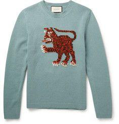 Gucci - Slim-Fit Tiger-Intarsia Wool Sweater