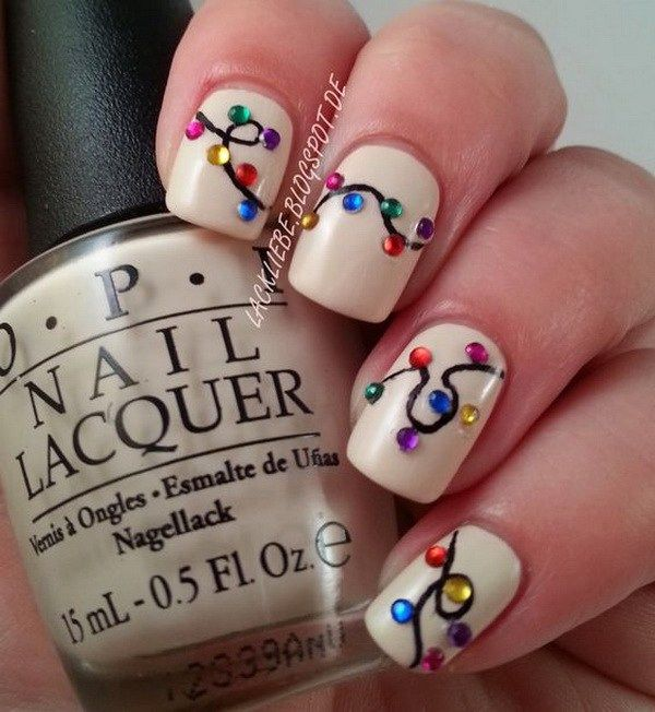 Colorful String Light Christmas Nails.