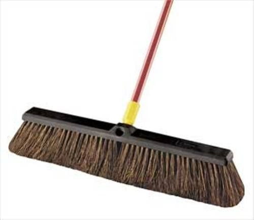 Quickie 24-Inch Bulldozer Push Broom 00536 by Quickie. Save 29 Off!. $16.39. From the Manufacturer      This 24 inch natural fiber stiff Palmyra pushbroom is great for heavy debris and rough surfaces. It has a 15/16 inch diameter and 60 inch steel handle length. 24-inch heavy duty resin block won't warp, rot, or crack. The steel handle comes with a great swivel hang up feature for easy storage. Change handle occasionally from one side of block to the other to maintain even ware. Thr...