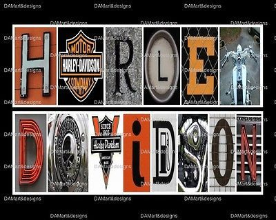 Harley Davidson Framed Alphabet Photo Art