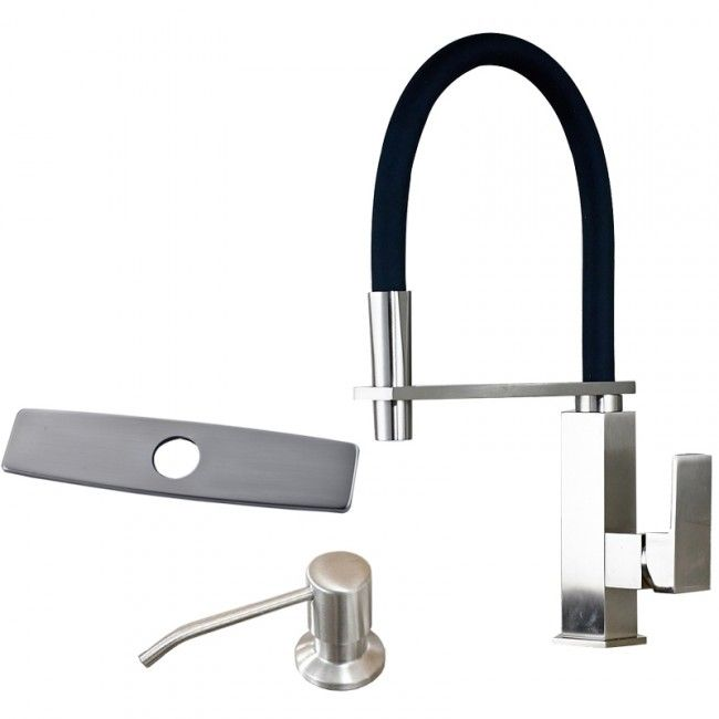 Chrome Finish Stainless Steel Kitchen Sink Faucet with Soap Dispenser
