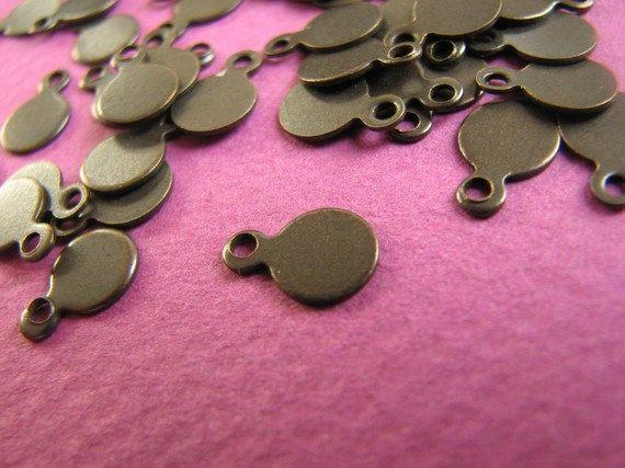 6mm Tag Drop Antique Copper / Bronze / by Turkeysupply http://etsy.me/1EfKRki #etsy #jewelry #brass #gem #drop #disc #charm #jewelonpet