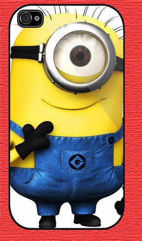 Personalized DESPICABLE ME Minion Character for Phone 4 iphone 4s Print iphone hard case for iphone 4, iphone 4S-plastic Iphone cover. $8.99, via Etsy.