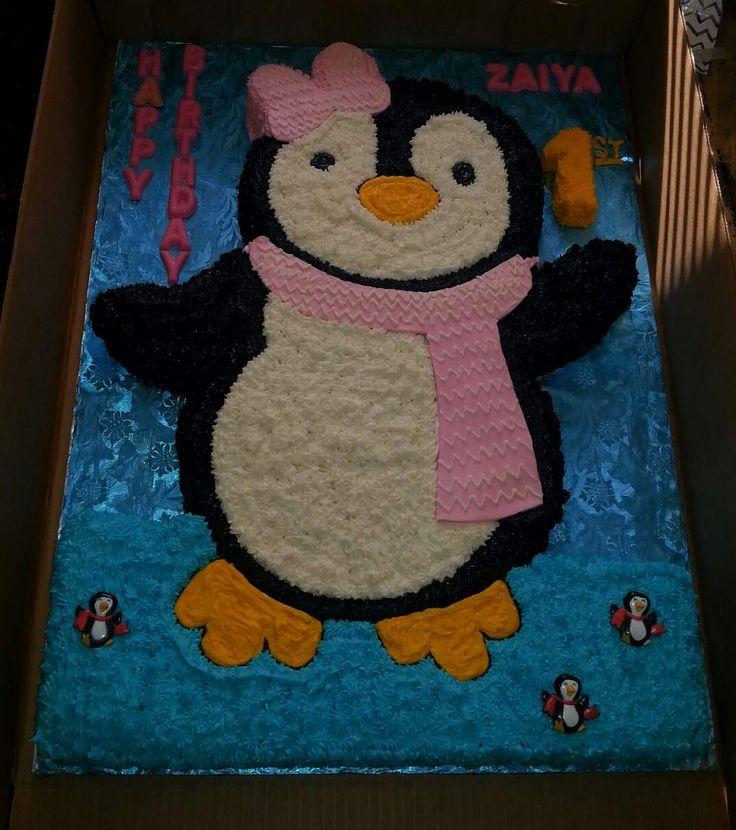 Baby Penguin shaped themed Birthday Cake Full Sheet 1/2 Yellow Cake and 1/2 Strawberry Cake