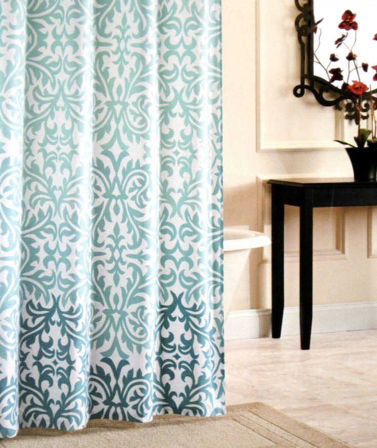 Nicole Miller Fabric Shower Curtain Damask Ombre Aqua Blue