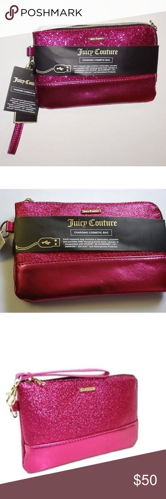 "NWT Juicy Couture Charging Cosmetic Bag Brand New Juicy Couture Hot Pink Glitter Charging Wallet!  •Gold logo plate and gold JC charm zipper.  POWER ELECTRONICS ON THE GO !! •Removable, reusable and portable USB charging power bank.  •Charger compatible with all products (iPhone, Android, Galaxy, LG, Blackberry & Smartphone products) •Removable wristlet strap included - use as a clutch too •Versatile - charger, makeup bag, purse, wallet, handbag.  •Measurements:  Purse 8 1/2"" width, 5 1/2""…"