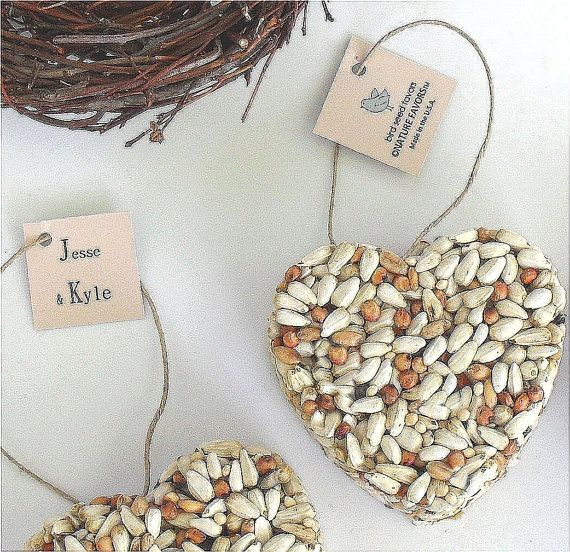 100 Bird Seed Heart Wedding Favors Customizable tags