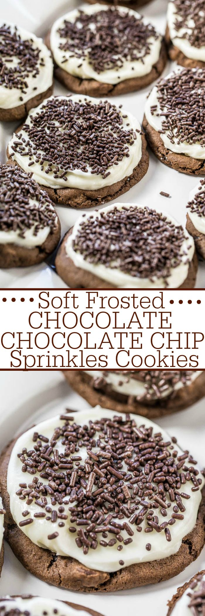 Soft Frosted Chocolate-Chocolate Chip Sprinkles Cookies - Soft, chewy, very chocolaty cookies topped with tangy cream cheese frosting!! A match made in heaven! And everything's better with sprinkles!! #ChristmasCookies