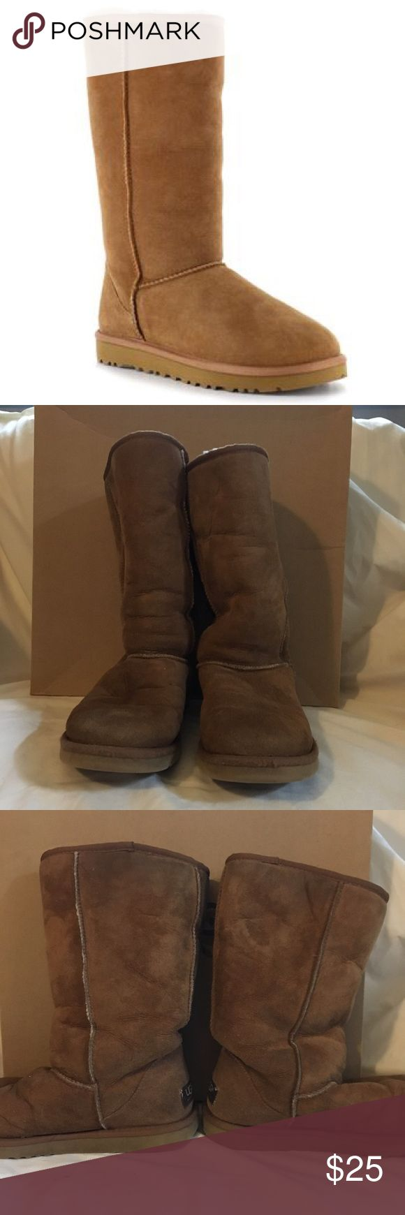 Ugg Classic Tall 5815 W's 7 In decent condition. Some signs of wear on the outside of the uggs and sole heels. Inside heel and sole show real signs of wear. Pretreated before wearing. Comes with the original box. UGG Shoes