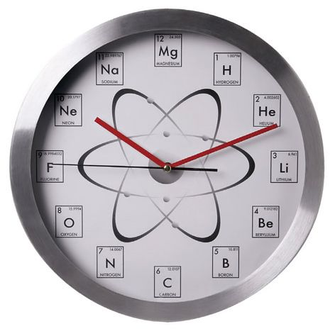 Mathematicians had the Chalkboard Math Clock, engineers had the Graph Paper Equations Clock, and now chemistry majors and nuclear scientists have the Chemistry Clock. Each number from one through twelve on the clock face uses the elemen