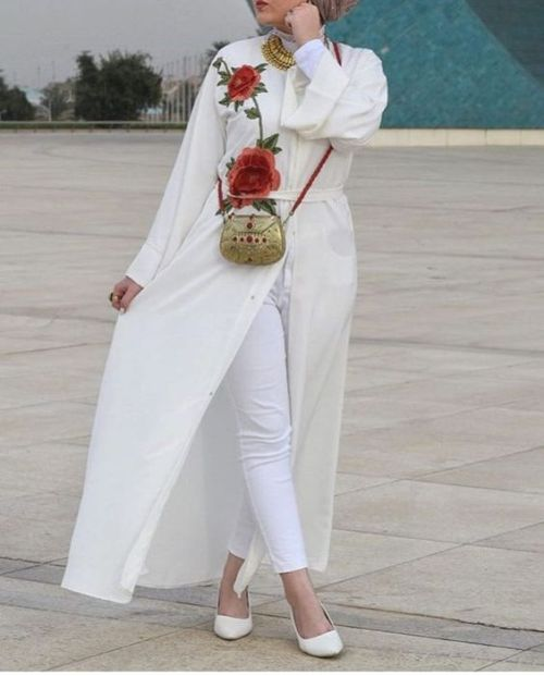 floral embroidered cardigan-The most trending hijab items – Just Trendy Girls