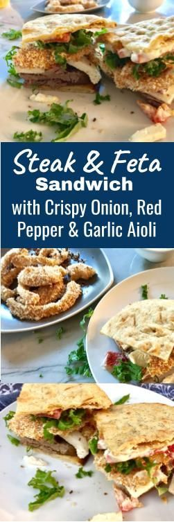 This sandwich has so many flavors and textures piled on between 2 crispy pieces of flatbread. You will not know how you will fit it in your mouth, you just will – trust me. The tender flank steak, topped with crisp kale, topped with creamy and salty Feta, topped with tangy and sweet roasted red pepper, topped with Crispy savory onion rings, topped with another salty layer of garlic aioli that comes oozing out with each bit WILL fit in your mouth and you will LOVE it!
