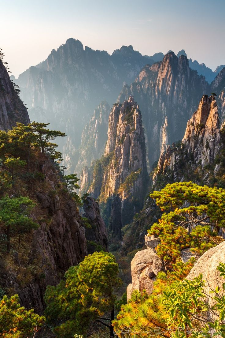 Huangshan, China - View of the West Sea Canyon from atop Huangshan (Yellow Mountain) in Anhui province, China. Huangshan is world-famous for its extreme granite peaks, which have inspired Chinese artists for centuries.