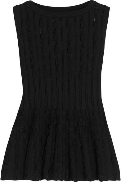 Alaïa - Stretch-knit Peplum Top - Black - FR38