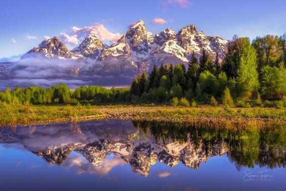 Wyoming Large Print Grand Teton Canvas National Park Snake Etsy In 2021 Reflection Photos Grand Teton National Park Grand Tetons