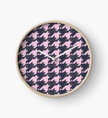 Pink Houndstooth  Clock