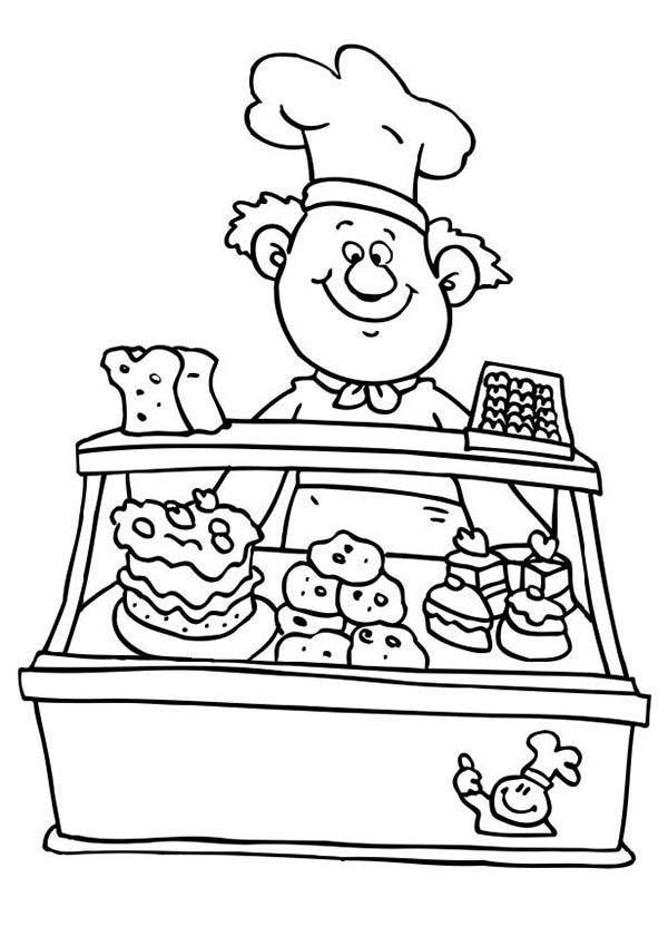 Selling Cake At Bakery Coloring Page Free Coloring Pages