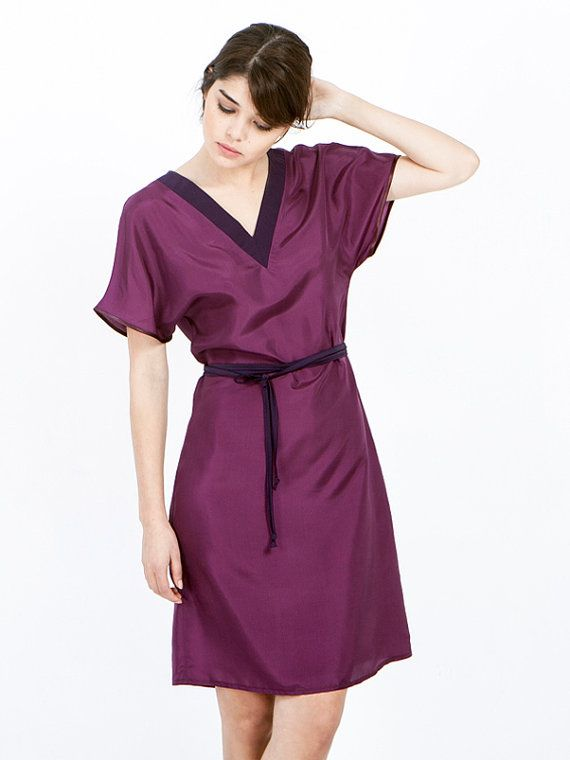 SALE Purple dress - Marsala Dress - silk dress - oversized dress - short sleeve dress - bell sleeve dress - petite dresses