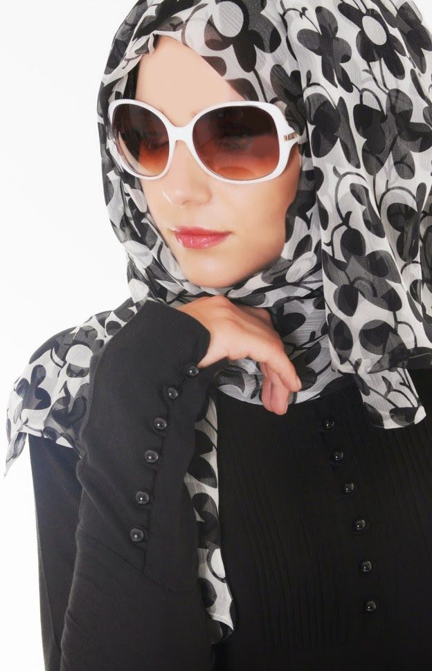 Multi Black And White Color Hijab Scarf With Shaded Lady s Glasses.