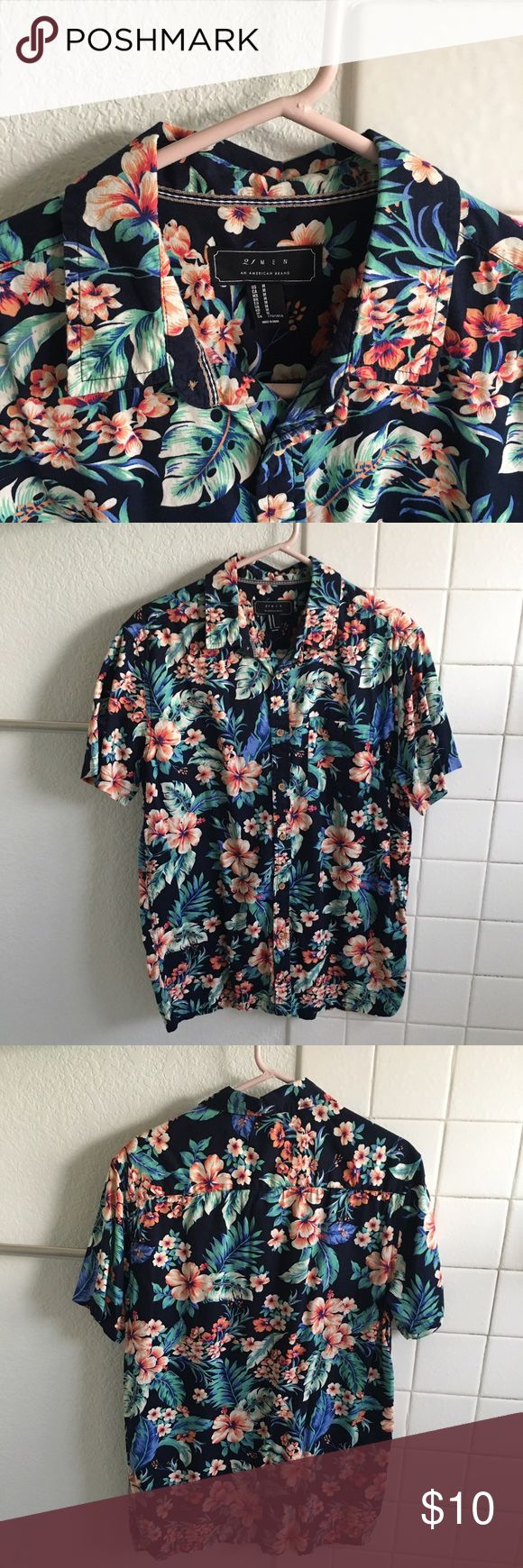 Hawaiian Style Button Up Floral aloha pt.2 21men Shirts Casual Button Down Shirts