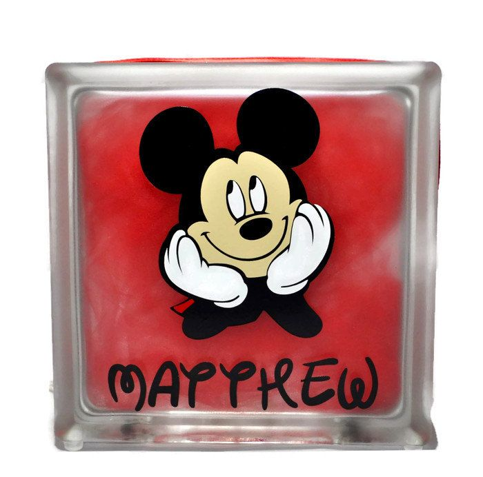 Mickey Mouse Night Light - Mickey Mouse Glass Block - Mickey Mouse Decorations - Mickey Mouse Lamp - Mickey Mouse - Disney Decorations by CrazyCraftersFun on Etsy