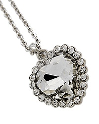 "17 1/2"" + EXT Rhodiumized Clear Glass & Clear Rhinestone Heart Pendant Necklace Retail - $21.52 You Pay - $10.76 w/ free shipping in the US."