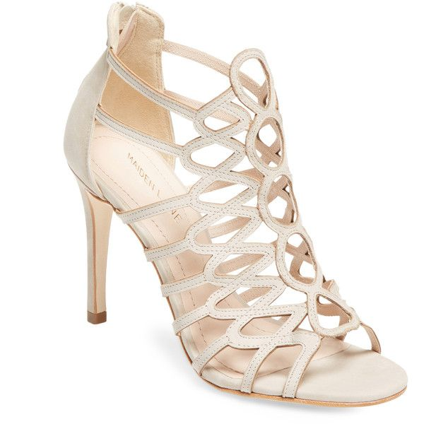 Maiden Lane Women's Mod Millie Leather Sandal - Cream/Tan, Size 10 ($70) ❤ liked on Polyvore featuring shoes, sandals, high heel shoes, heeled sandals, tan high heel sandals, cut out sandals and high heels sandals