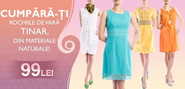 In şi Bumbac scrie pe NOI :)    De la 99 lei vă puteţi alege rochii de vară în culori minunate, din ţesături naturale, modele super trendy!    START SHOPPING: http://www.tinar.ro/rochii.html