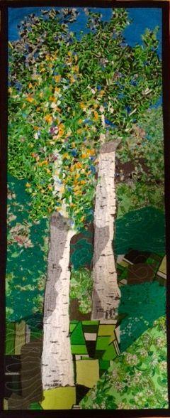 Birches. Quilting and confetti technic, 43 x 101cm