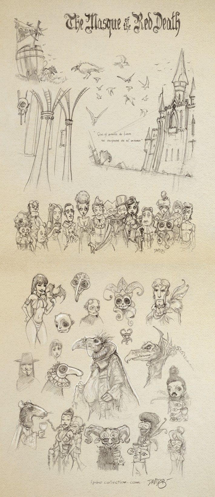 """""""The Masque of The Red Death"""" sketches for iPoe Collection [by David G. Forés] #Poe #EdgarAllanPoe #boceto #Mascara #Roja"""
