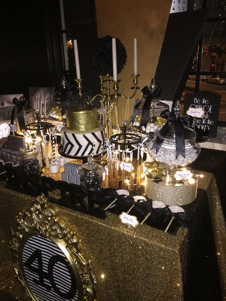 Black White And Gold Candy Buffet With A Glamorous 2 Tier