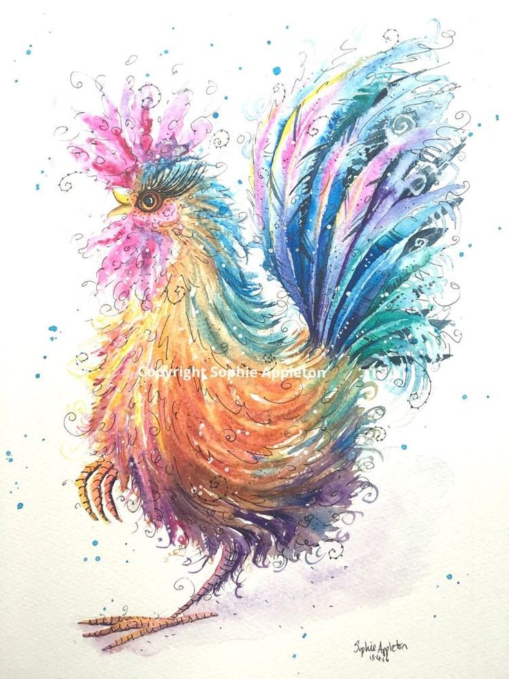 Original Watercolour Painting Rainbow Rooster by Sophie Appleton