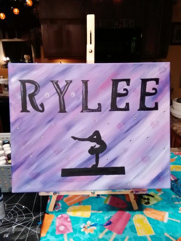 Gymnastics canvas for my niece painted by Heather