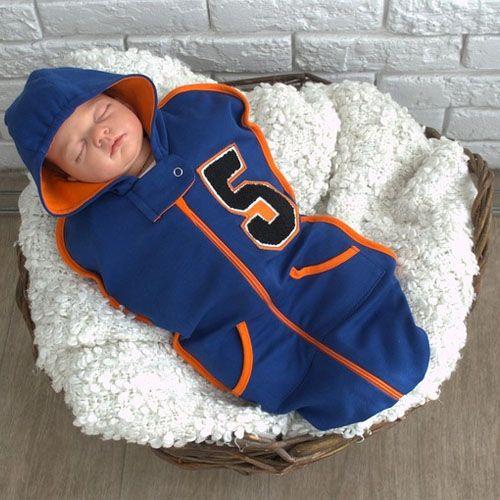 Синяя утепленная пеленка на молнии для новорожденных IT'S A FIVE от MagBaby 0-3 мес.