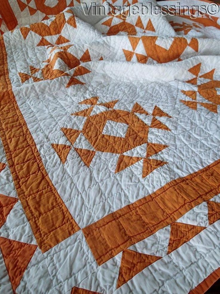 Crisp Vintage 30s Cheddar Orange & White QUILT  Goose in the Pond 80x54""