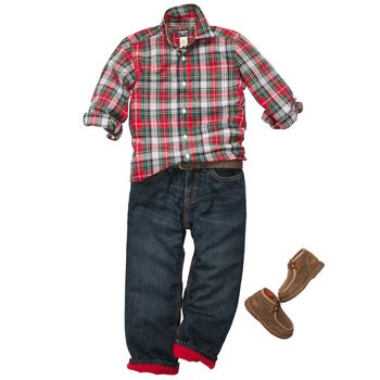 Fleece-lined denim with plaid button front shirt. #oshkoshbgosh