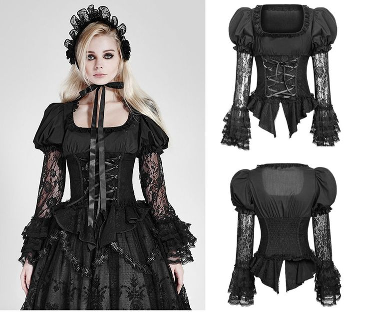 Punk Rave Gothic Lolita Bluse Spitze Lace Shirt Steampunk Victorian Blouse LT007  | eBay