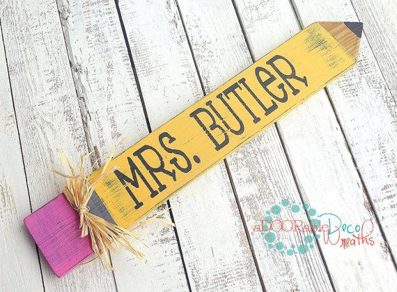 Personalized Teacher Name Plate Wooden Pencil Sign