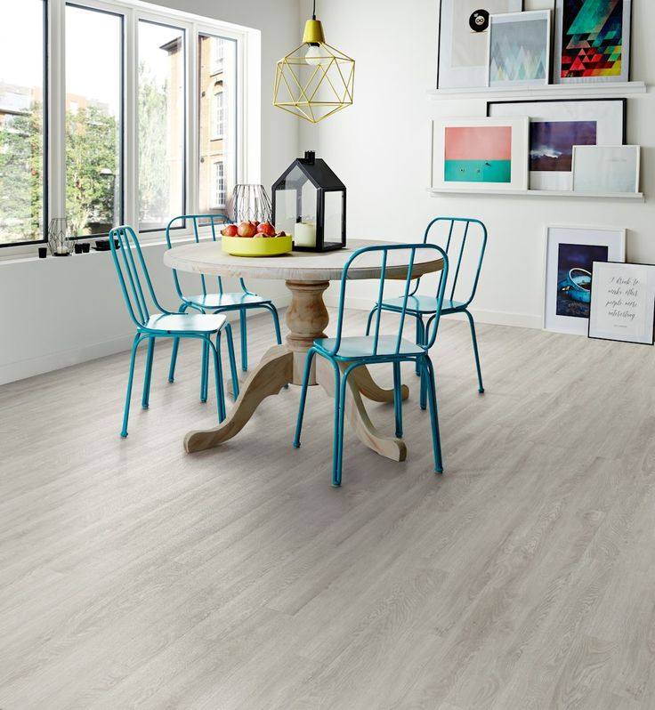 Bianco Oak Camaro Luxury Vinyl Tile Flooring Featured In Dining Room