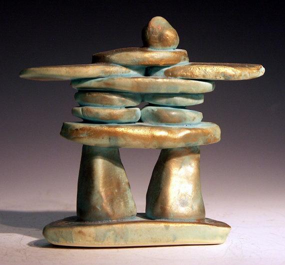 Ceramic and porcelain Inukshuk sculpture ethnic peoples by zalt57, $45.00