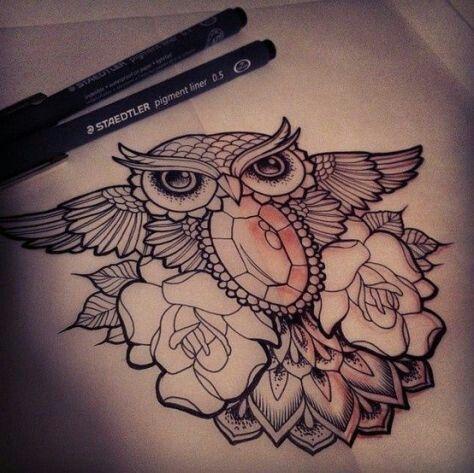 Jewels, bird, flowers tattoo