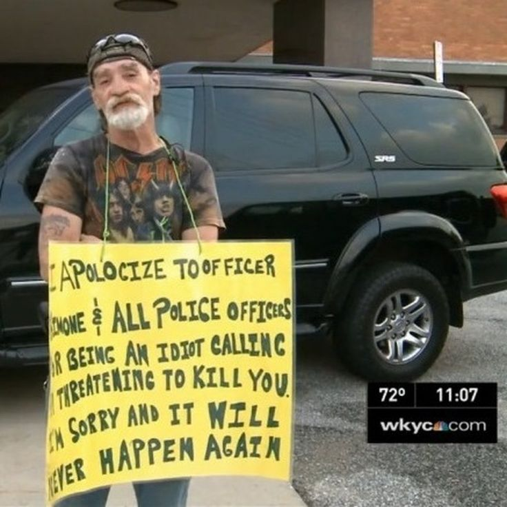 Richard Dameron tells Cleveland's WKYC-TV he's sorry for drunkenly dialing 911. A judge says he has to stand outside a police station each day this week to show that to the city.