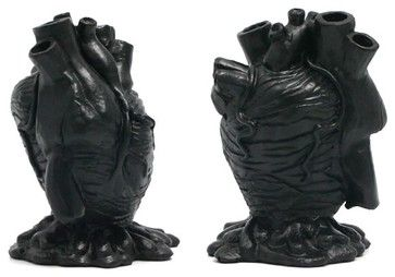 Perfect for my black, black heart ;-)  Black Anatomical Heart Pencil Holder eclectic desk accessories