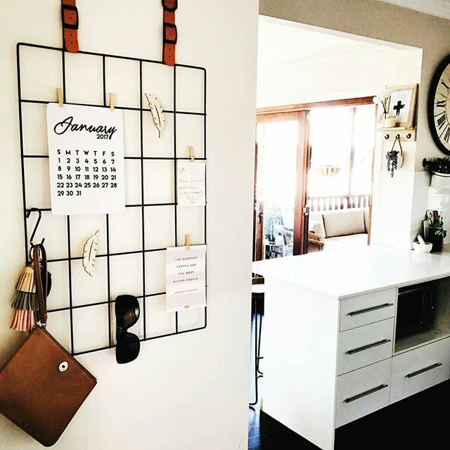 $6 Kmart grid for organised hanging noticeboard in kitchen