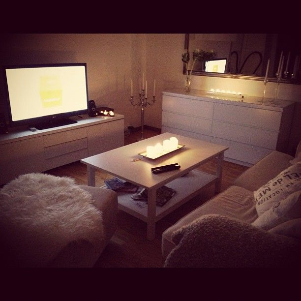 Cozy, love the ikea bedroom furniture used for living room'