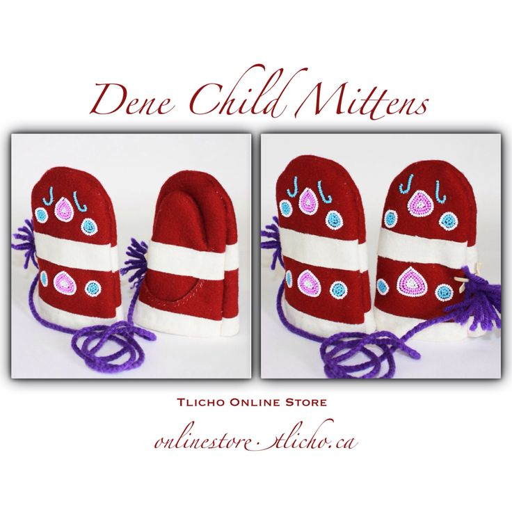#Dene #Child #Mittens by #Tlicho #Elder Mary Christine Chinkon, from #Behchoko, NT. Available http://onlinestore.tlicho.ca