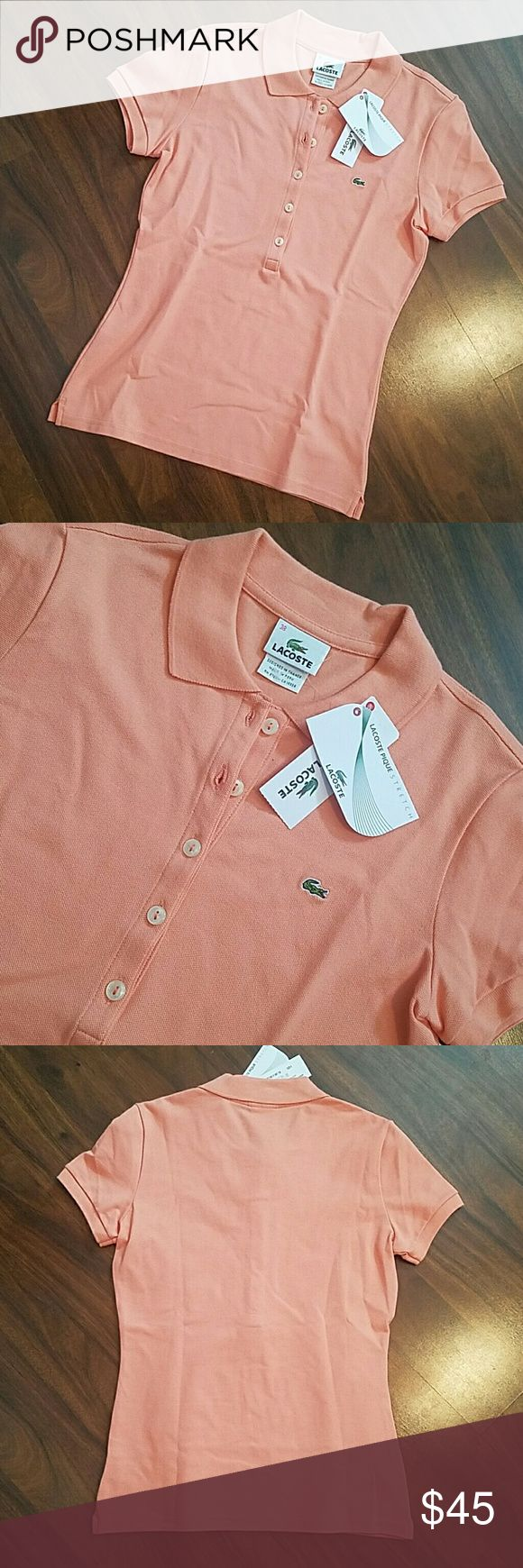 Lacoste Polo in Melon Lacoste size is 38 which fits like a small 6. BNWT. Absolutely no flaws. Also, check out my closet for another lacoste Polo dress! Color is Melon which is like a peach.measures 17.5 inches armpit to armpit and 24 inches long.  **New Listing** but will lower 10% today for shipping discount!! Today only! Lacoste Tops Button Down Shirts